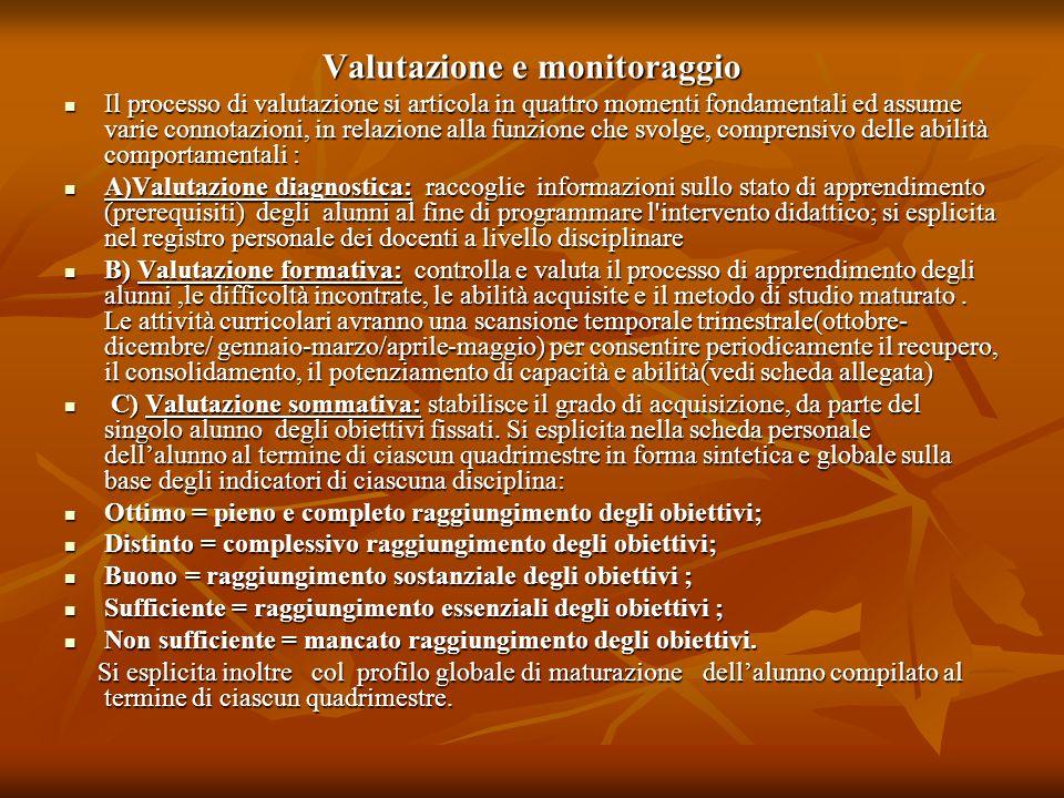 Valutazione e monitoraggio