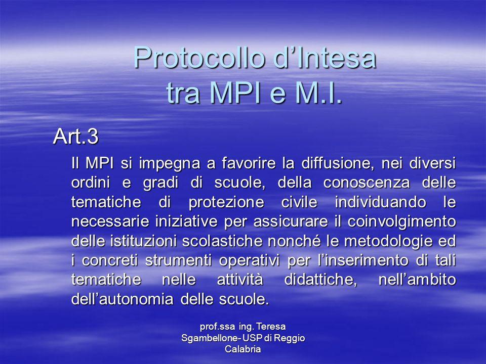 Protocollo d'Intesa tra MPI e M.I.