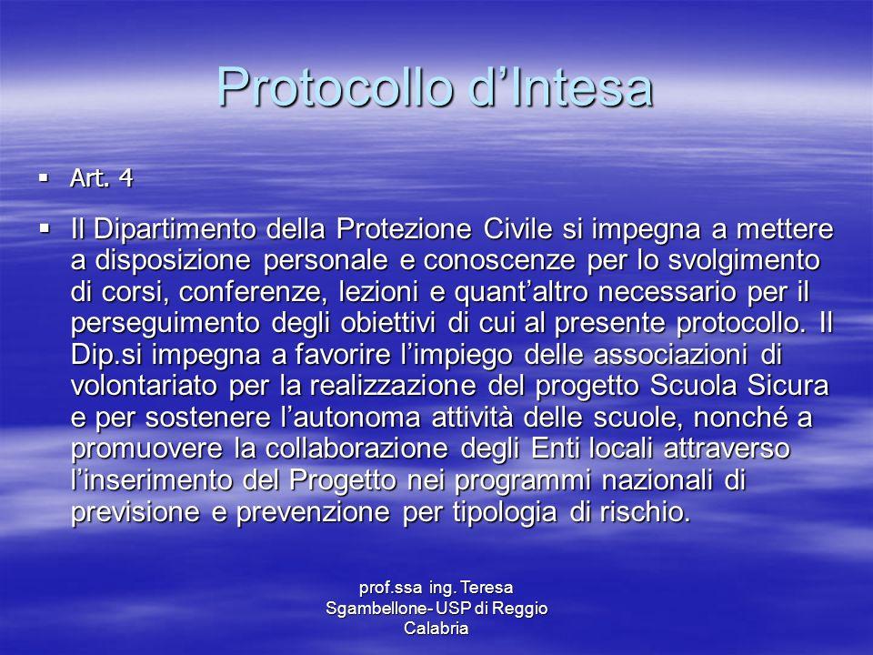 prof.ssa ing. Teresa Sgambellone- USP di Reggio Calabria