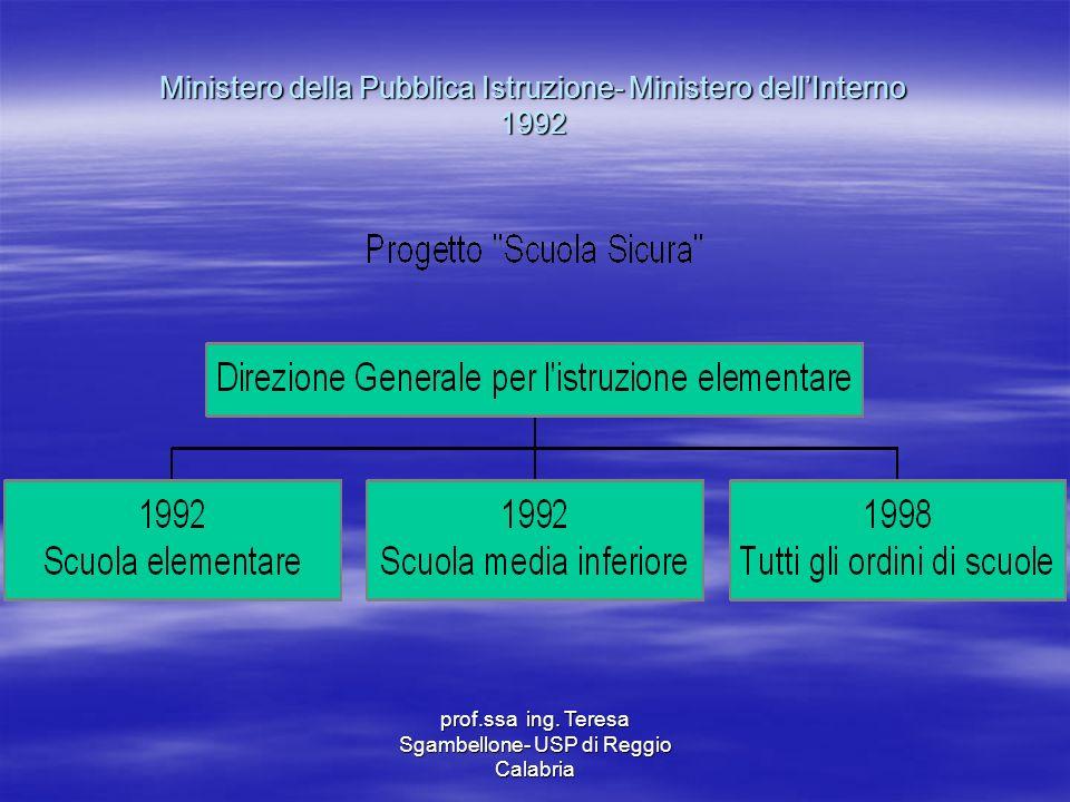 Ministero della Pubblica Istruzione- Ministero dell'Interno 1992