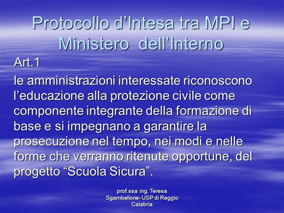 Protocollo d'Intesa tra MPI e Ministero dell'Interno