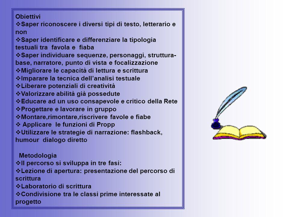 Obiettivi Saper riconoscere i diversi tipi di testo, letterario e non. Saper identificare e differenziare la tipologia testuali tra favola e fiaba.