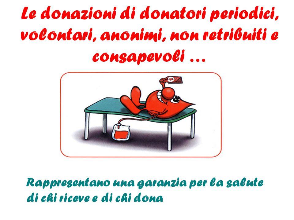Le donazioni di donatori periodici, volontari, anonimi, non retribuiti e consapevoli …