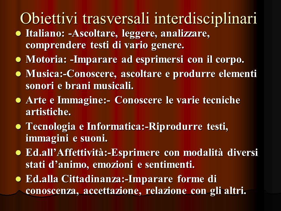 Obiettivi trasversali interdisciplinari