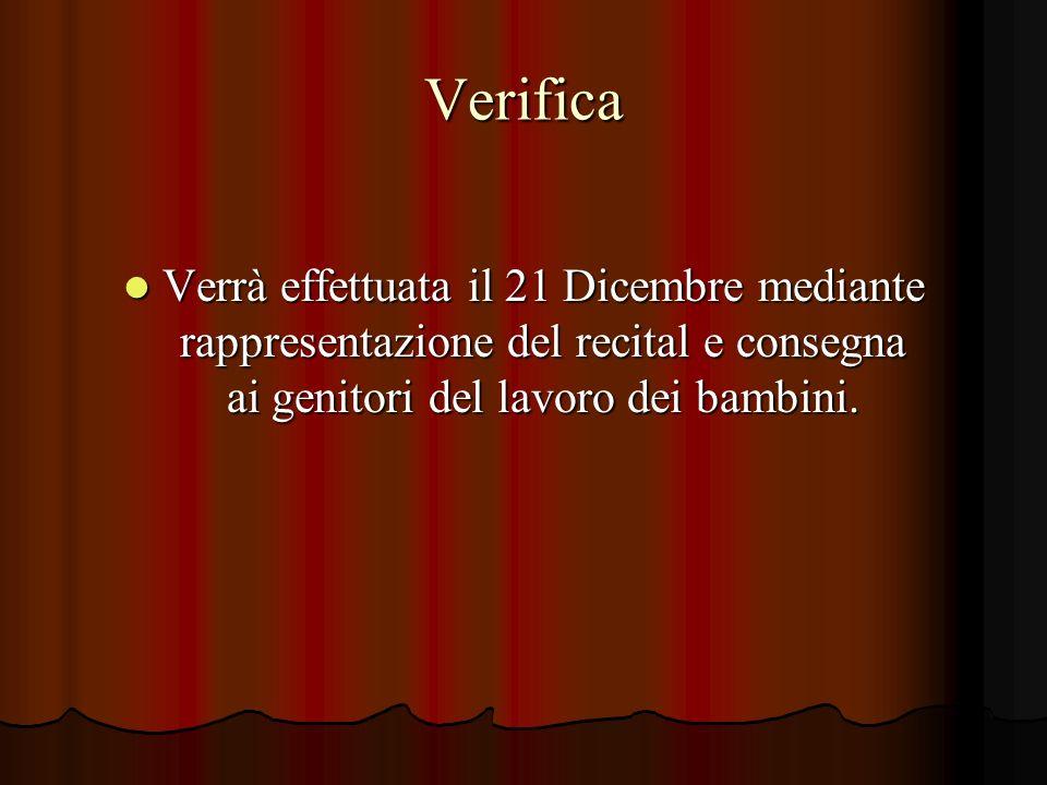 Verifica Verrà effettuata il 21 Dicembre mediante rappresentazione del recital e consegna ai genitori del lavoro dei bambini.