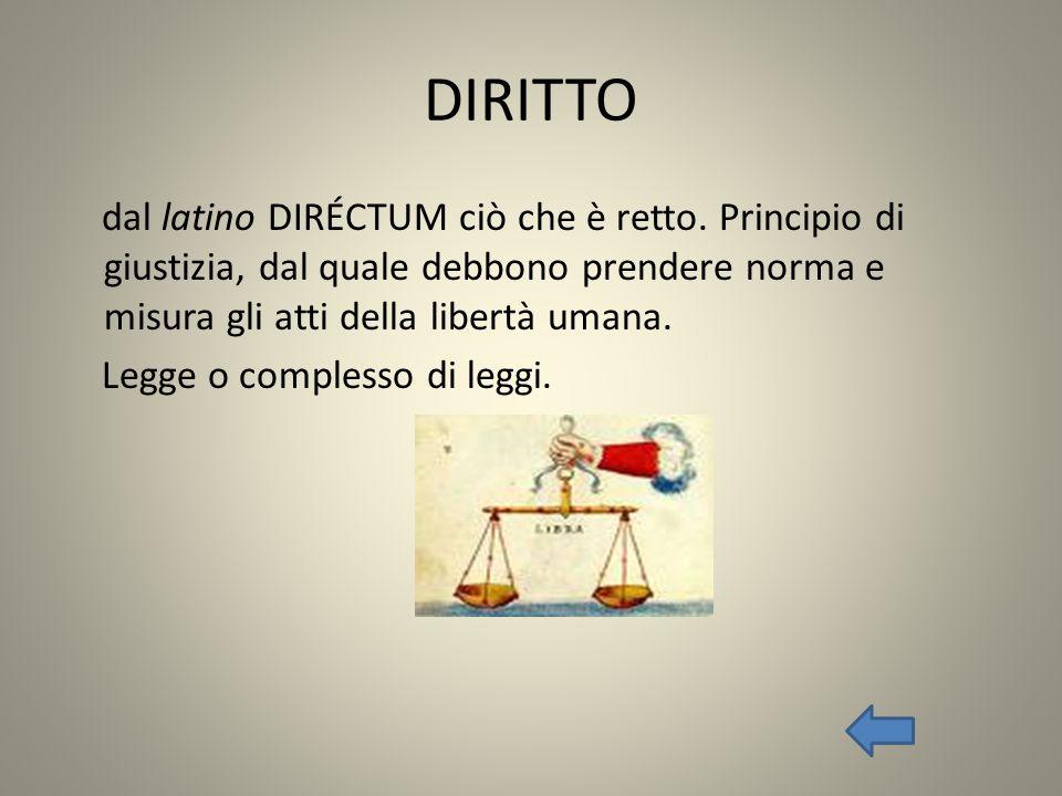 DIRITTO dal latino DIRÉCTUM ciò che è retto. Principio di giustizia, dal quale debbono prendere norma e misura gli atti della libertà umana.