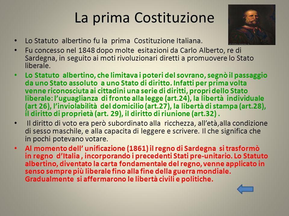 La prima Costituzione Lo Statuto albertino fu la prima Costituzione Italiana.