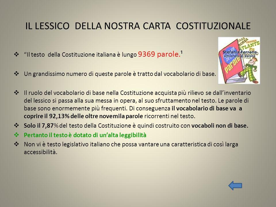 IL LESSICO DELLA NOSTRA CARTA COSTITUZIONALE
