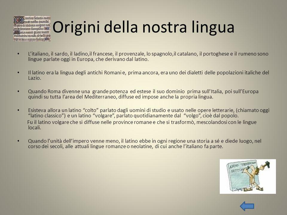Origini della nostra lingua