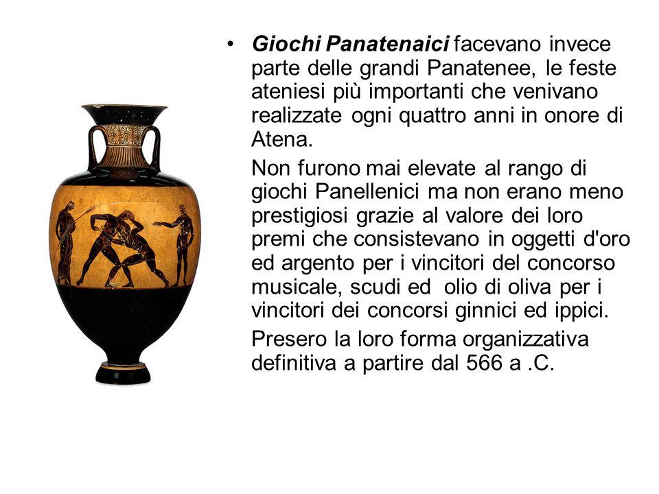 Giochi Panatenaici facevano invece parte delle grandi Panatenee, le feste ateniesi più importanti che venivano realizzate ogni quattro anni in onore di Atena.