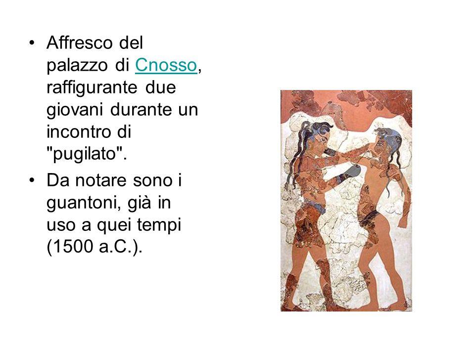 Affresco del palazzo di Cnosso, raffigurante due giovani durante un incontro di pugilato .