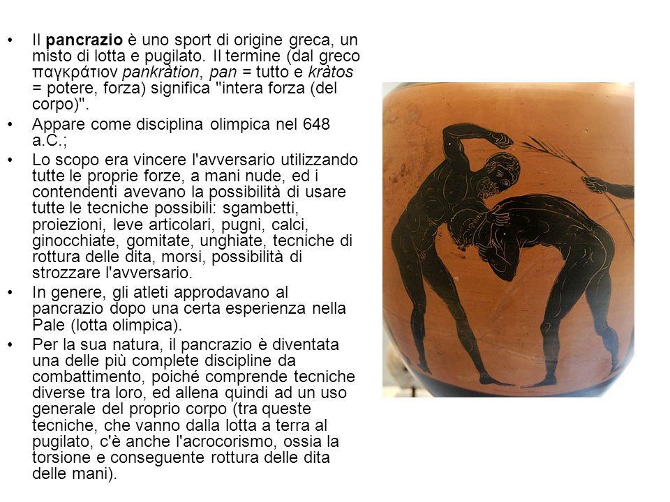 Il pancrazio è uno sport di origine greca, un misto di lotta e pugilato. Il termine (dal greco παγκράτιον pankràtion, pan = tutto e kràtos = potere, forza) significa intera forza (del corpo) .
