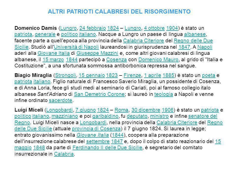 ALTRI PATRIOTI CALABRESI DEL RISORGIMENTO