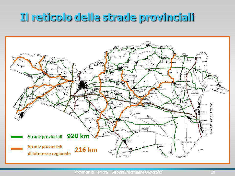 Il reticolo delle strade provinciali