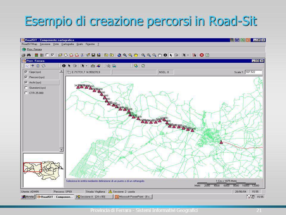 Esempio di creazione percorsi in Road-Sit