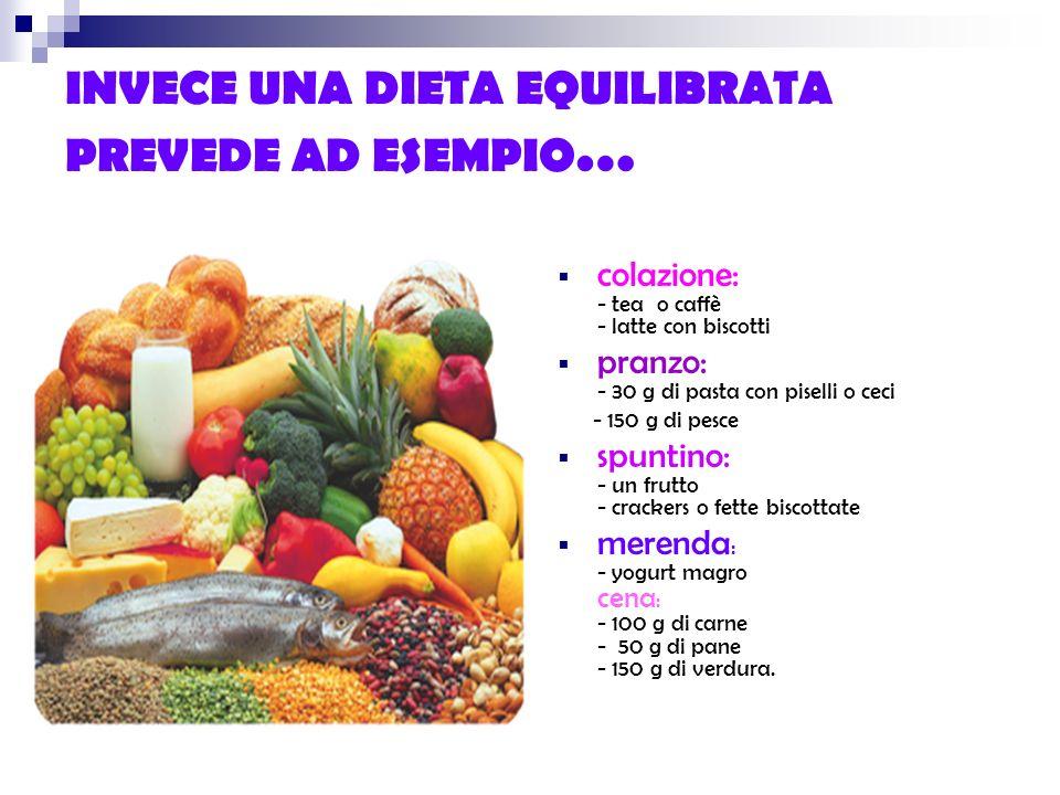 INVECE UNA DIETA EQUILIBRATA PREVEDE AD ESEMPIO…