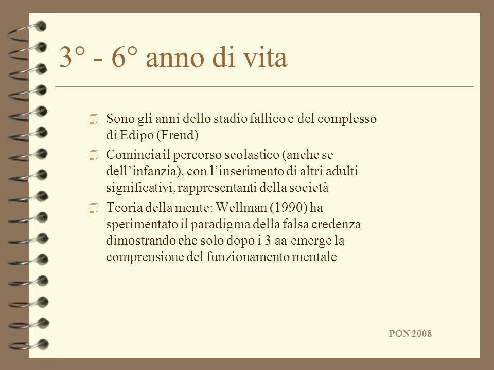 3° - 6° anno di vitaSono gli anni dello stadio fallico e del complesso di Edipo (Freud)