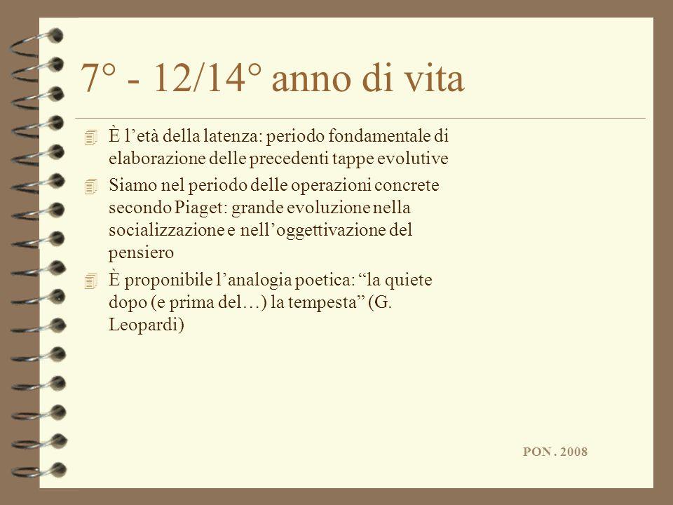 7° - 12/14° anno di vita È l'età della latenza: periodo fondamentale di elaborazione delle precedenti tappe evolutive.