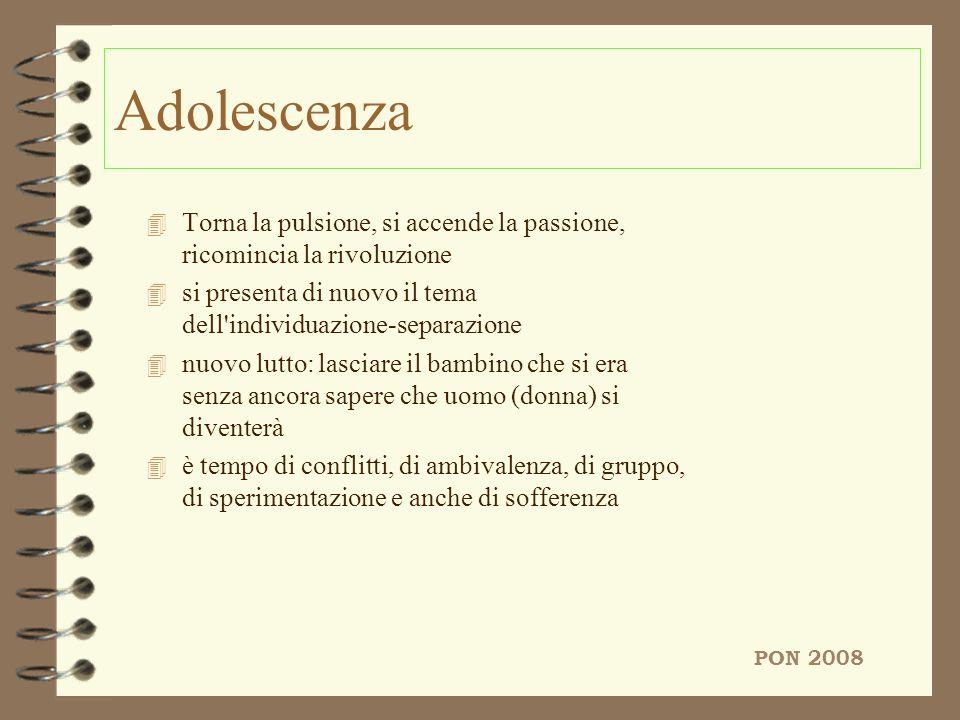 AdolescenzaTorna la pulsione, si accende la passione, ricomincia la rivoluzione. si presenta di nuovo il tema dell individuazione-separazione.
