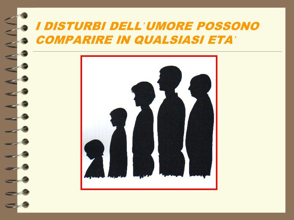 I DISTURBI DELL'UMORE POSSONO COMPARIRE IN QUALSIASI ETA'