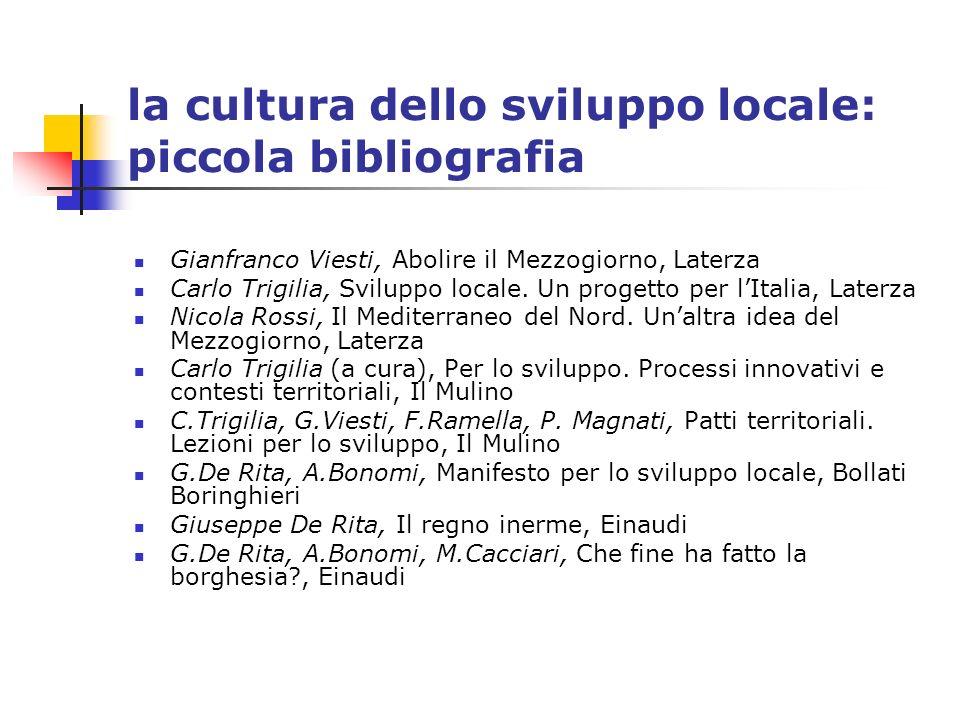 la cultura dello sviluppo locale: piccola bibliografia