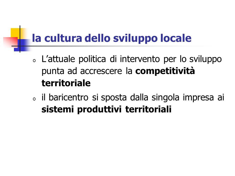 la cultura dello sviluppo locale