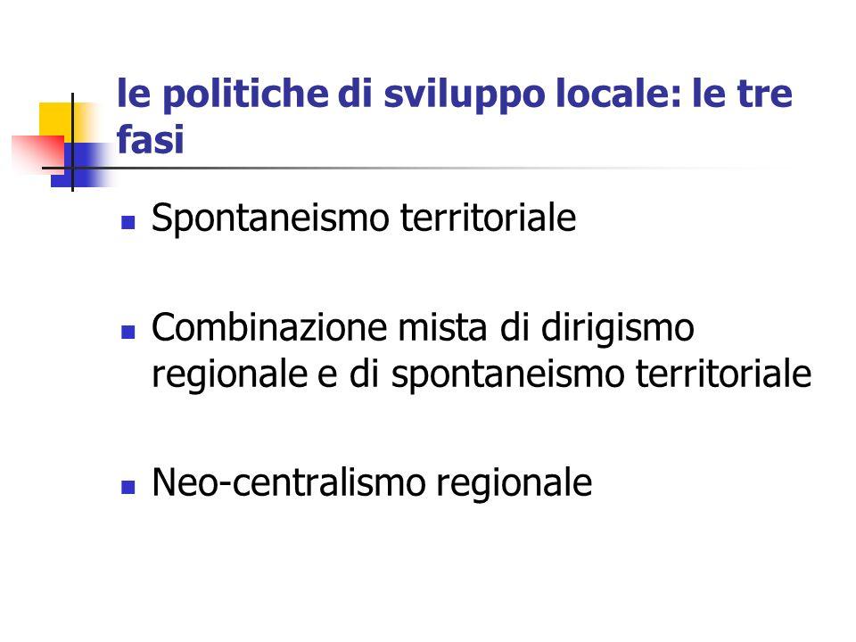 le politiche di sviluppo locale: le tre fasi