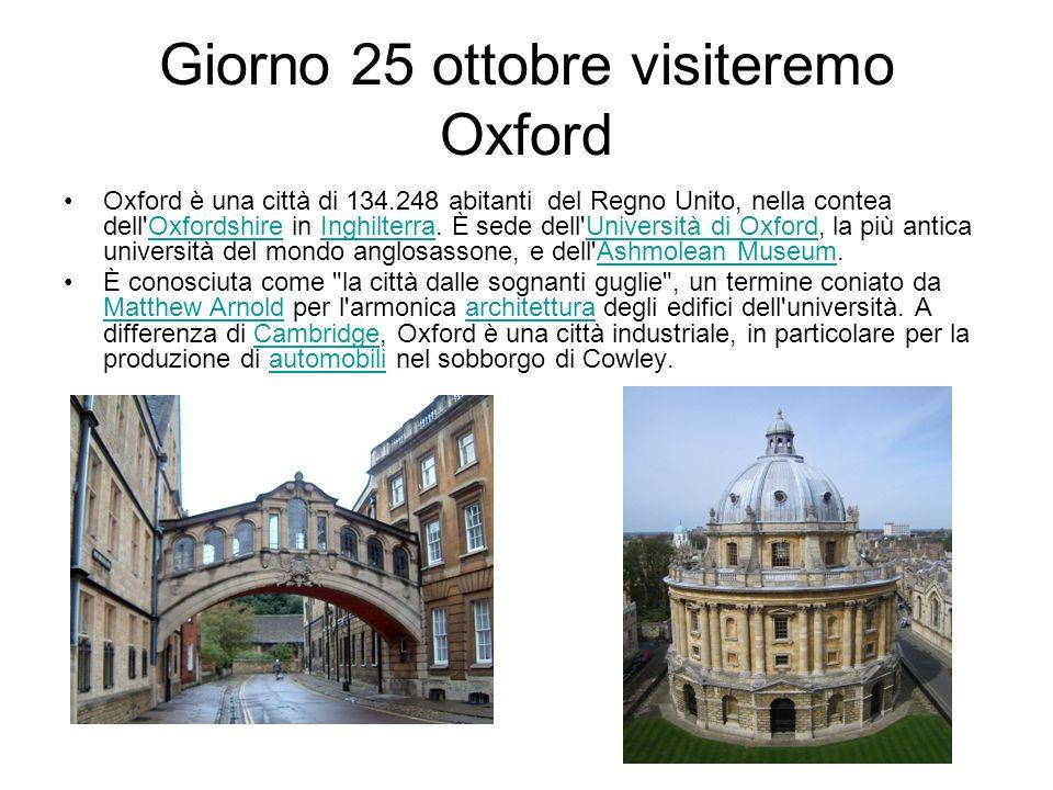 Giorno 25 ottobre visiteremo Oxford
