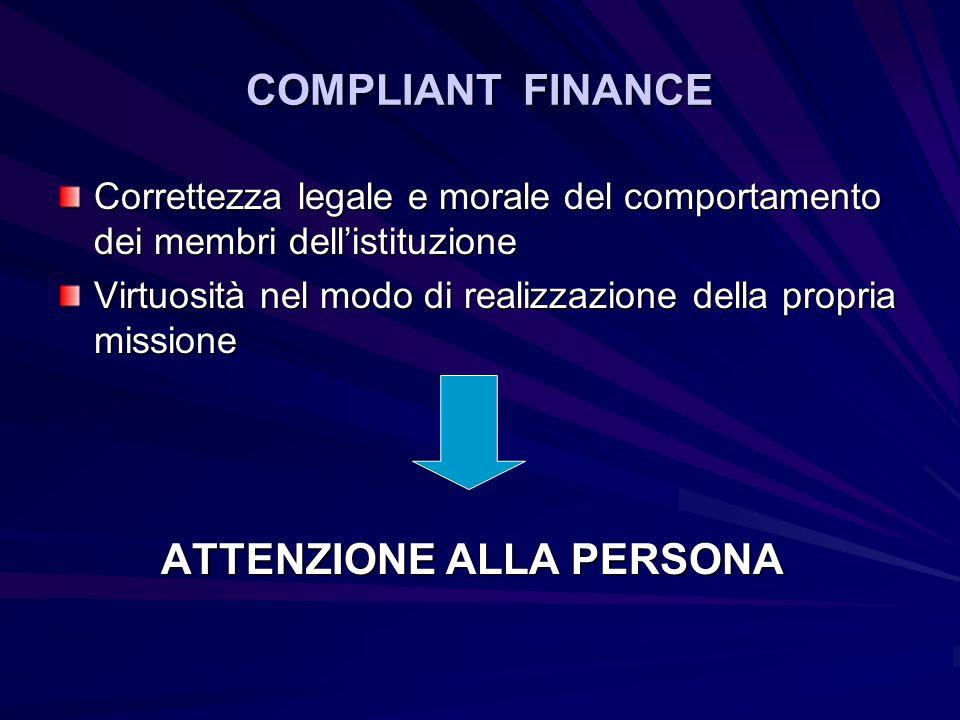 COMPLIANT FINANCE Correttezza legale e morale del comportamento dei membri dell'istituzione.