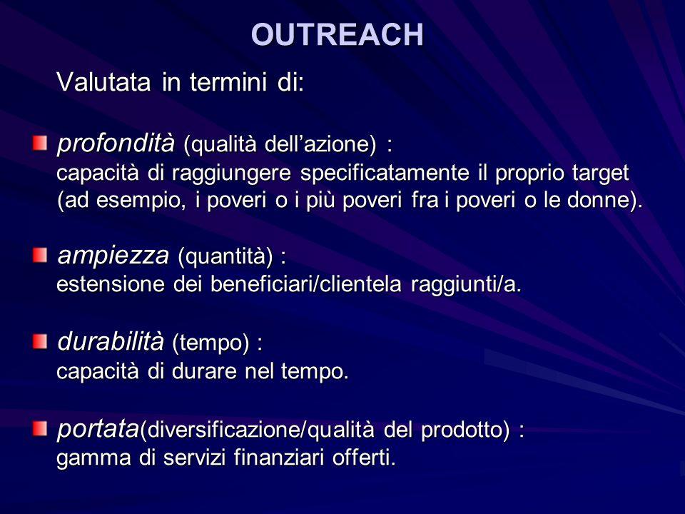 OUTREACH profondità (qualità dell'azione) : ampiezza (quantità) :