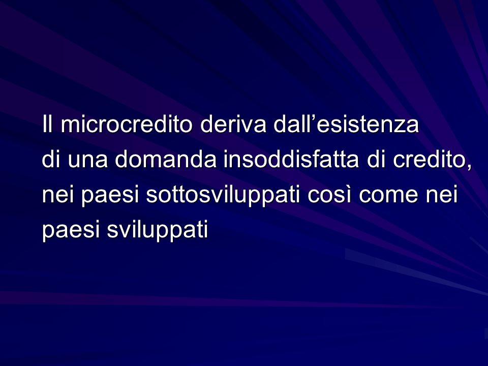Il microcredito deriva dall'esistenza