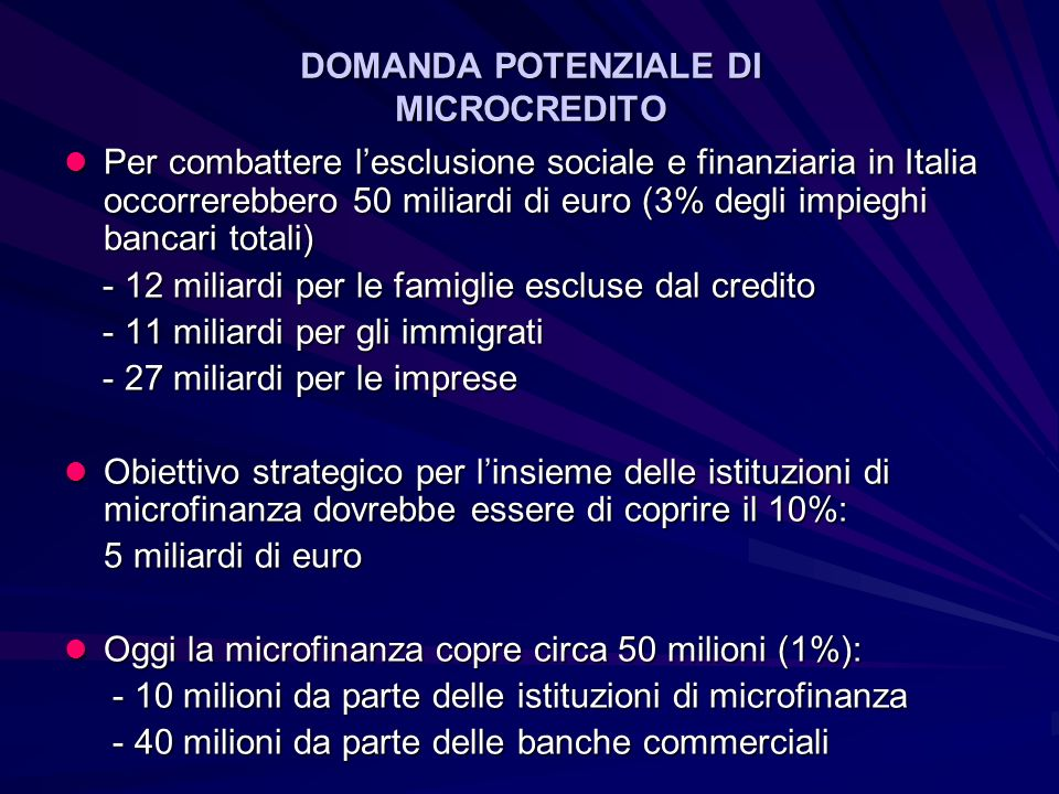DOMANDA POTENZIALE DI MICROCREDITO