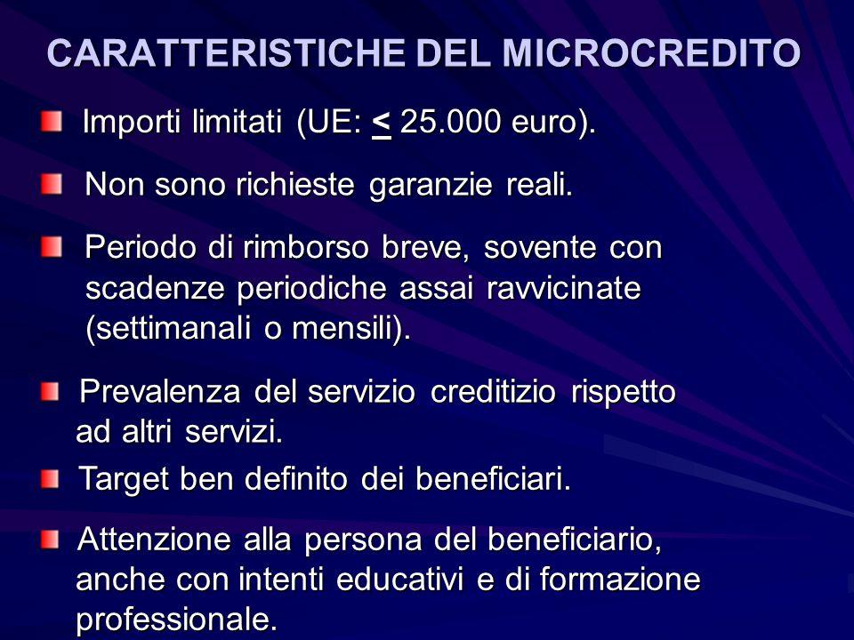CARATTERISTICHE DEL MICROCREDITO