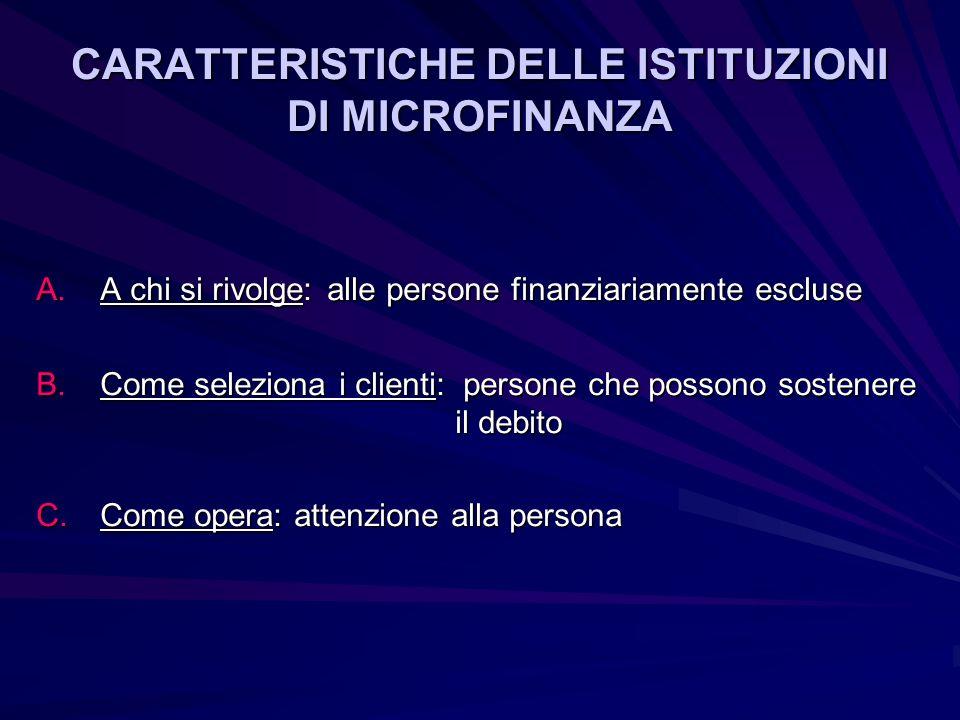 CARATTERISTICHE DELLE ISTITUZIONI DI MICROFINANZA