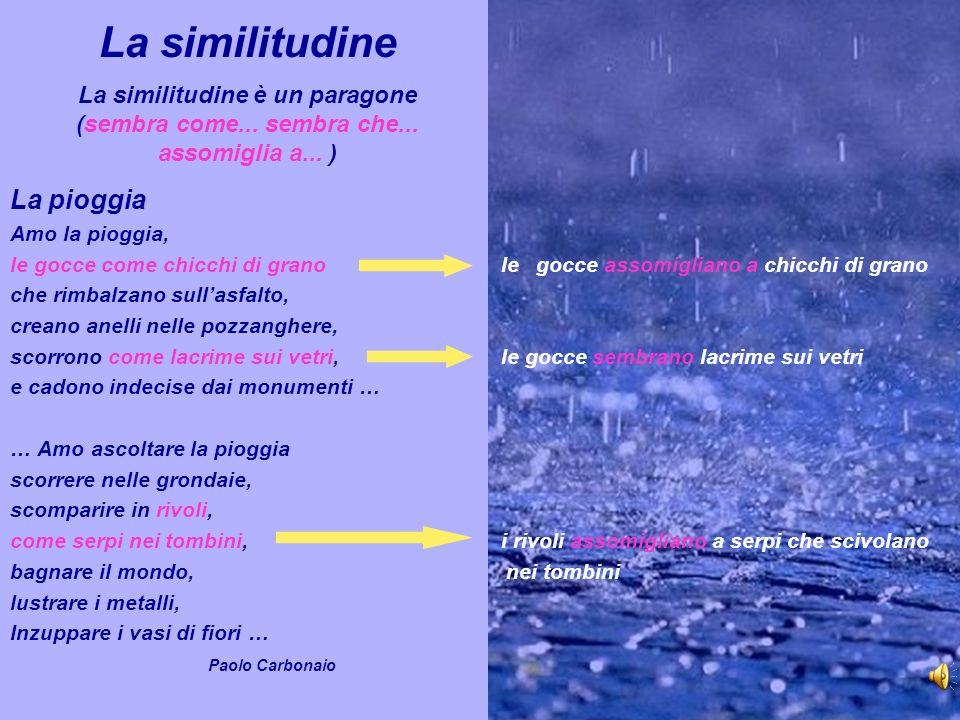 La similitudine La similitudine è un paragone (sembra come. sembra che