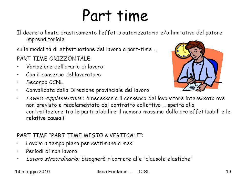Part timeIl decreto limita drasticamente l'effetto autorizzatorio e/o limitativo del potere imprenditoriale.