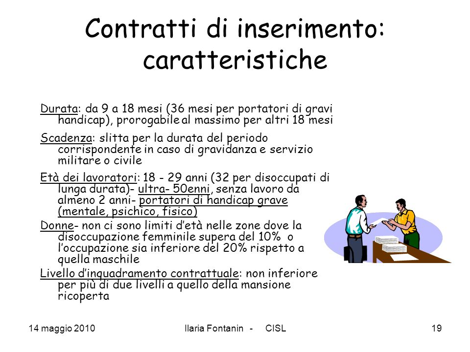 Contratti di inserimento: caratteristiche