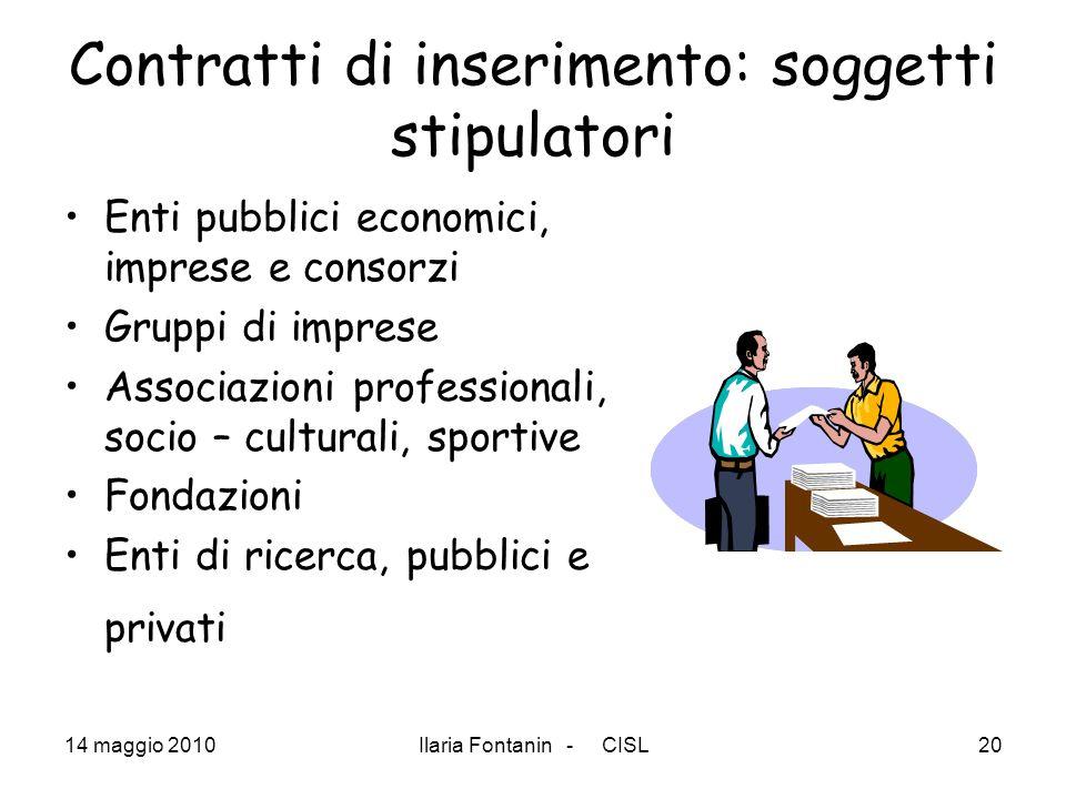 Contratti di inserimento: soggetti stipulatori