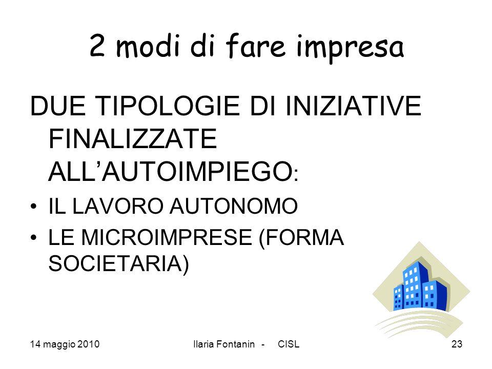 2 modi di fare impresaDUE TIPOLOGIE DI INIZIATIVE FINALIZZATE ALL'AUTOIMPIEGO: IL LAVORO AUTONOMO. LE MICROIMPRESE (FORMA SOCIETARIA)