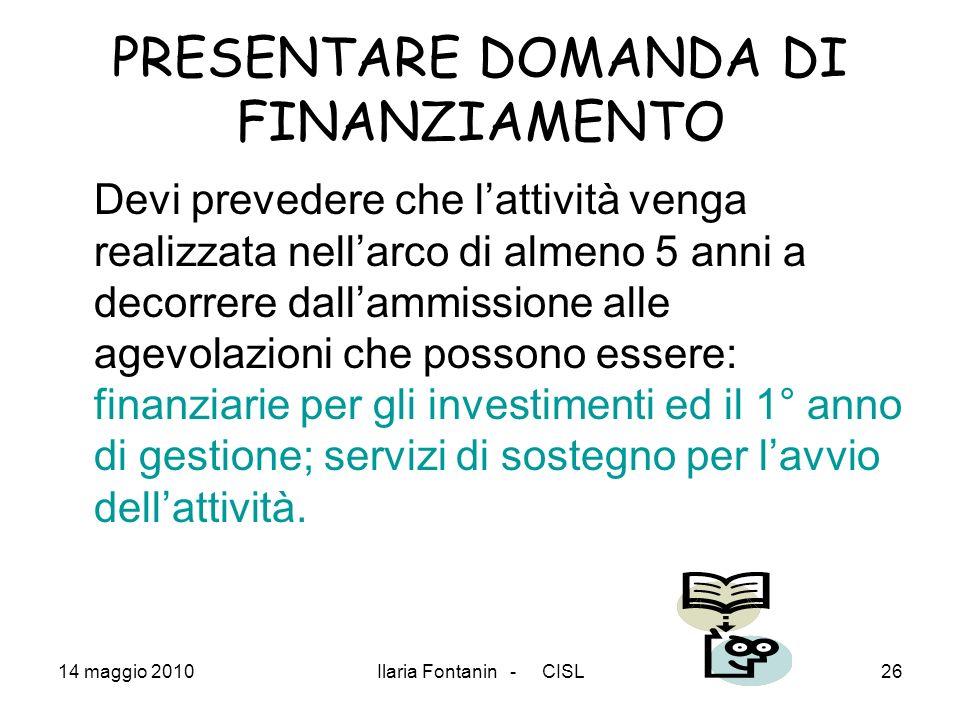 PRESENTARE DOMANDA DI FINANZIAMENTO