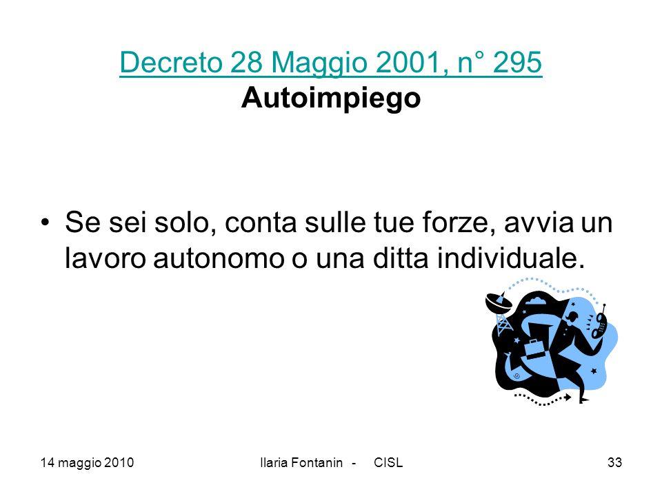 Decreto 28 Maggio 2001, n° 295 Autoimpiego