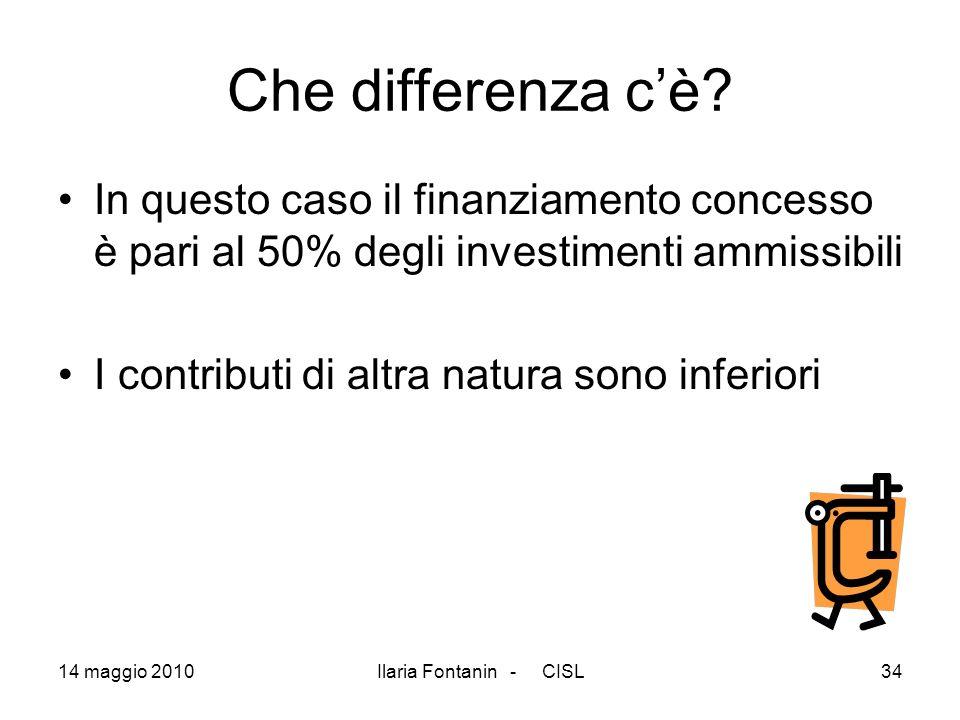 Che differenza c'è In questo caso il finanziamento concesso è pari al 50% degli investimenti ammissibili.