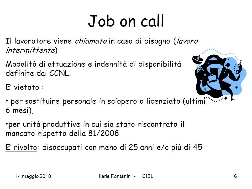 Job on call Il lavoratore viene chiamato in caso di bisogno (lavoro intermittente)