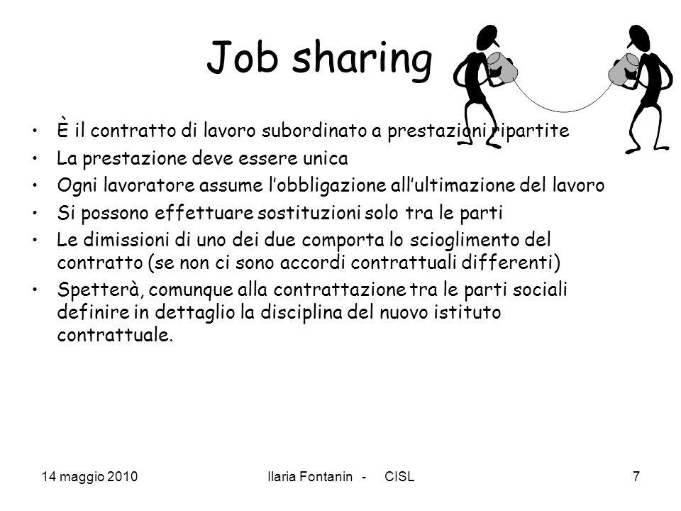 Job sharing È il contratto di lavoro subordinato a prestazioni ripartite. La prestazione deve essere unica.