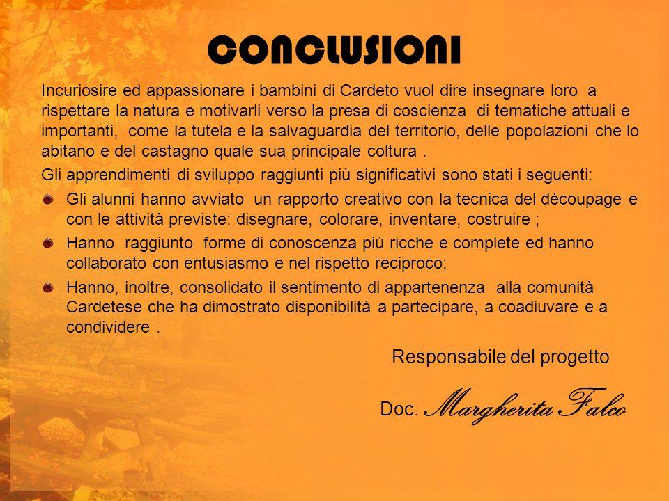 CONCLUSIONI Responsabile del progetto Doc. Margherita Falco