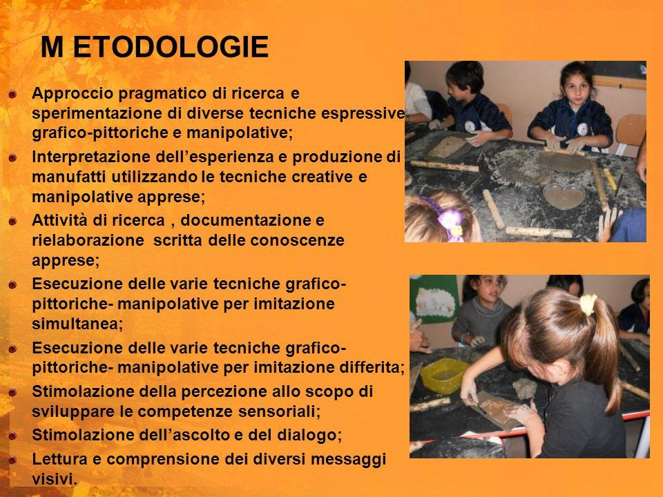 M ETODOLOGIE Approccio pragmatico di ricerca e sperimentazione di diverse tecniche espressive grafico-pittoriche e manipolative;