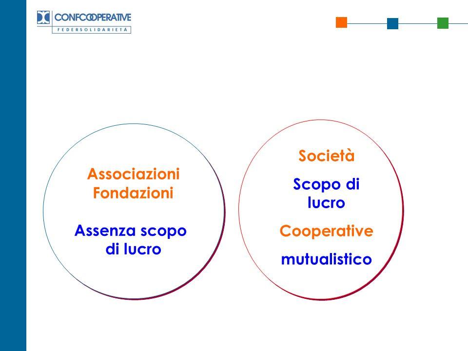 Associazioni Fondazioni Assenza scopo di lucro Società Scopo di lucro Cooperative mutualistico