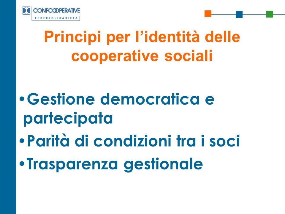 Principi per l'identità delle cooperative sociali