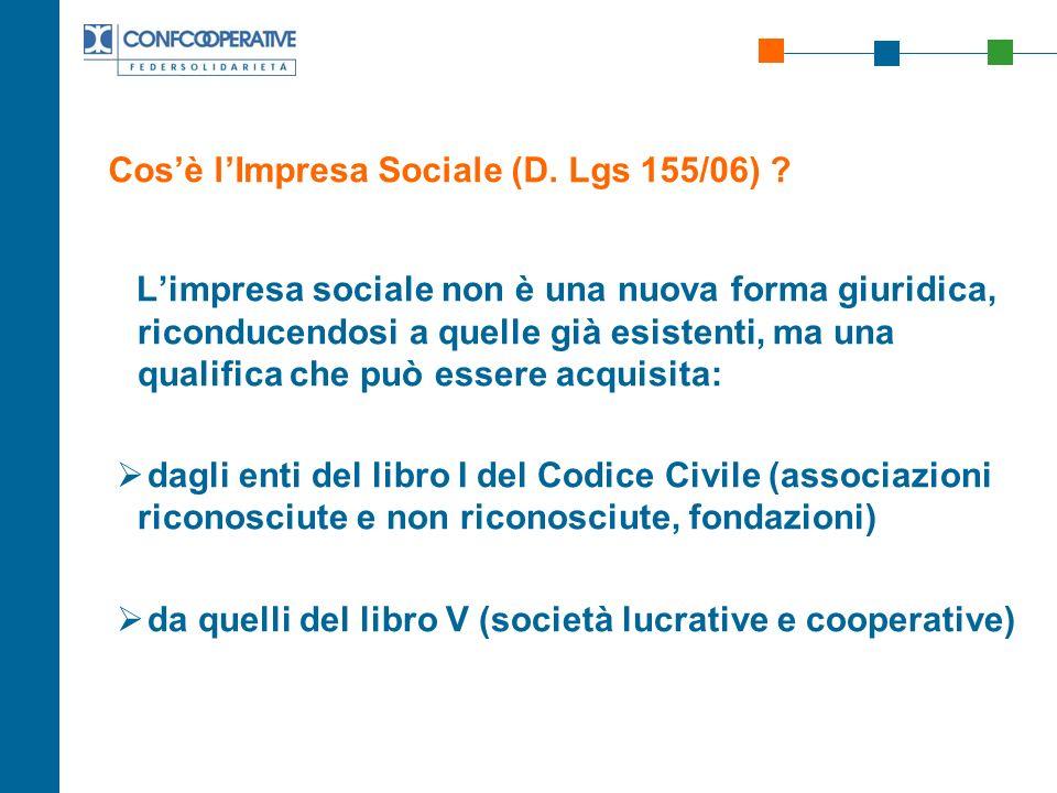 Cos'è l'Impresa Sociale (D. Lgs 155/06)