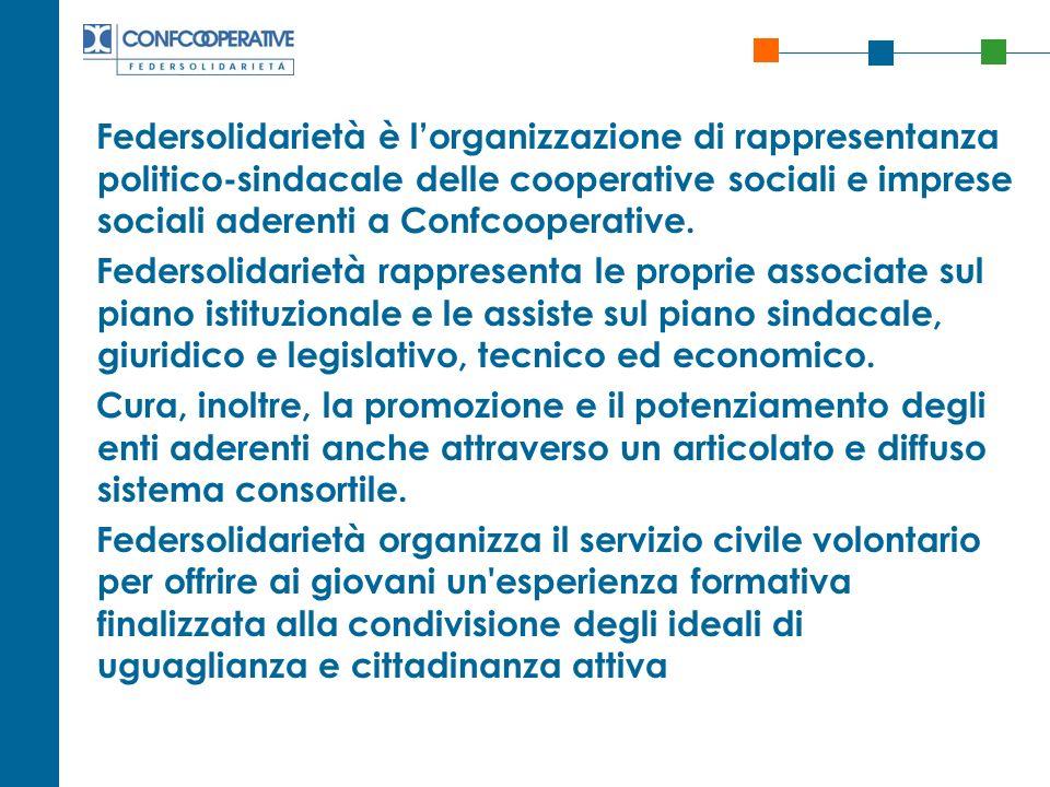 Federsolidarietà è l'organizzazione di rappresentanza politico-sindacale delle cooperative sociali e imprese sociali aderenti a Confcooperative.